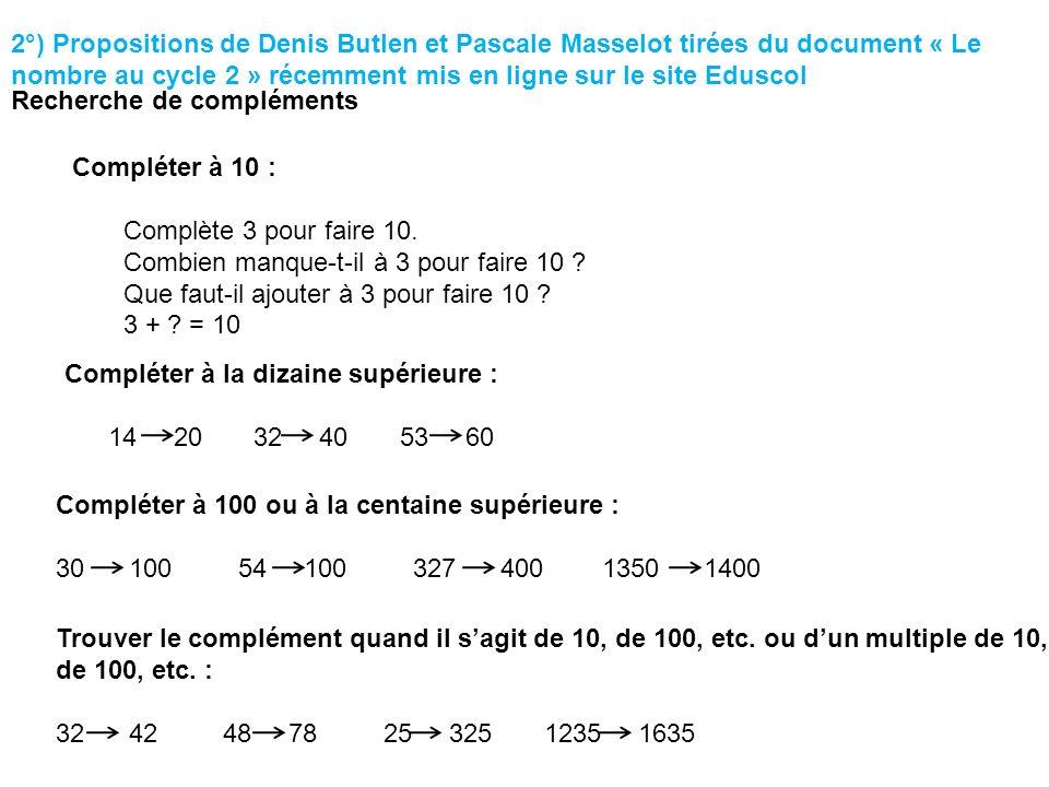 Compléter à 10 : Complète 3 pour faire 10. Combien manque-t-il à 3 pour faire 10 ? Que faut-il ajouter à 3 pour faire 10 ? 3 + ? = 10 2°) Propositions
