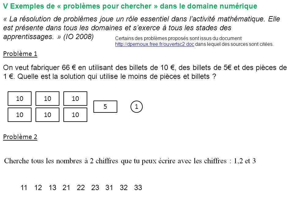 V Exemples de « problèmes pour chercher » dans le domaine numérique Problème 1 Problème 2 10 1 11 12 13 21 22 23 31 32 33 « La résolution de problèmes