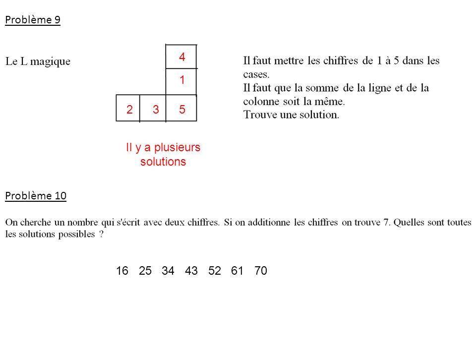 Problème 9 Il y a plusieurs solutions 5 1 4 32 Problème 10 16 25 34 43 52 61 70