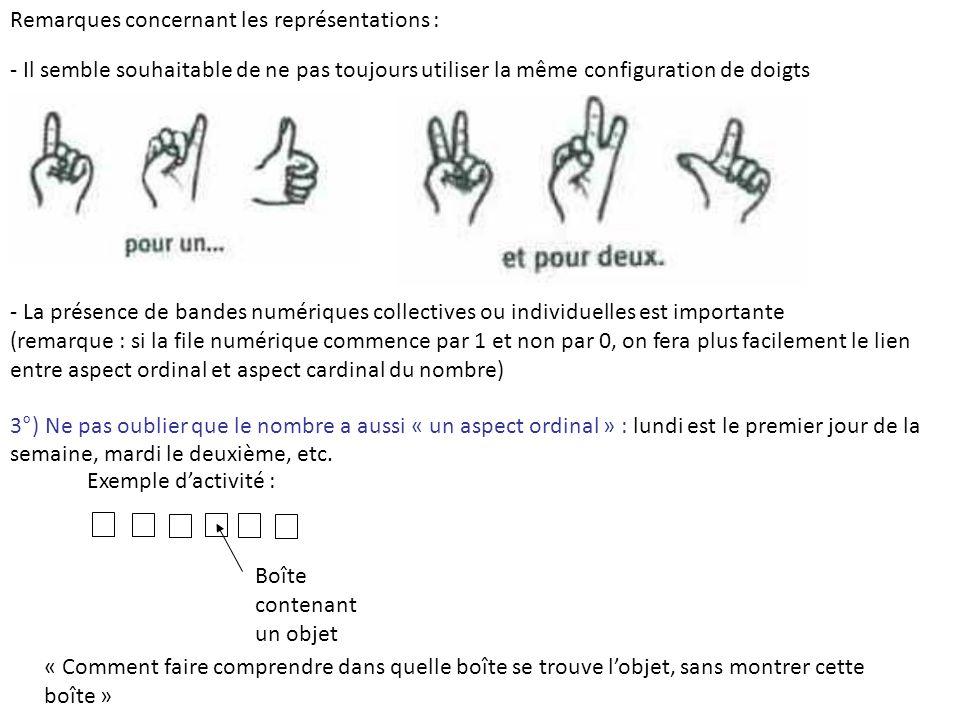 Remarques concernant les représentations : - Il semble souhaitable de ne pas toujours utiliser la même configuration de doigts - La présence de bandes