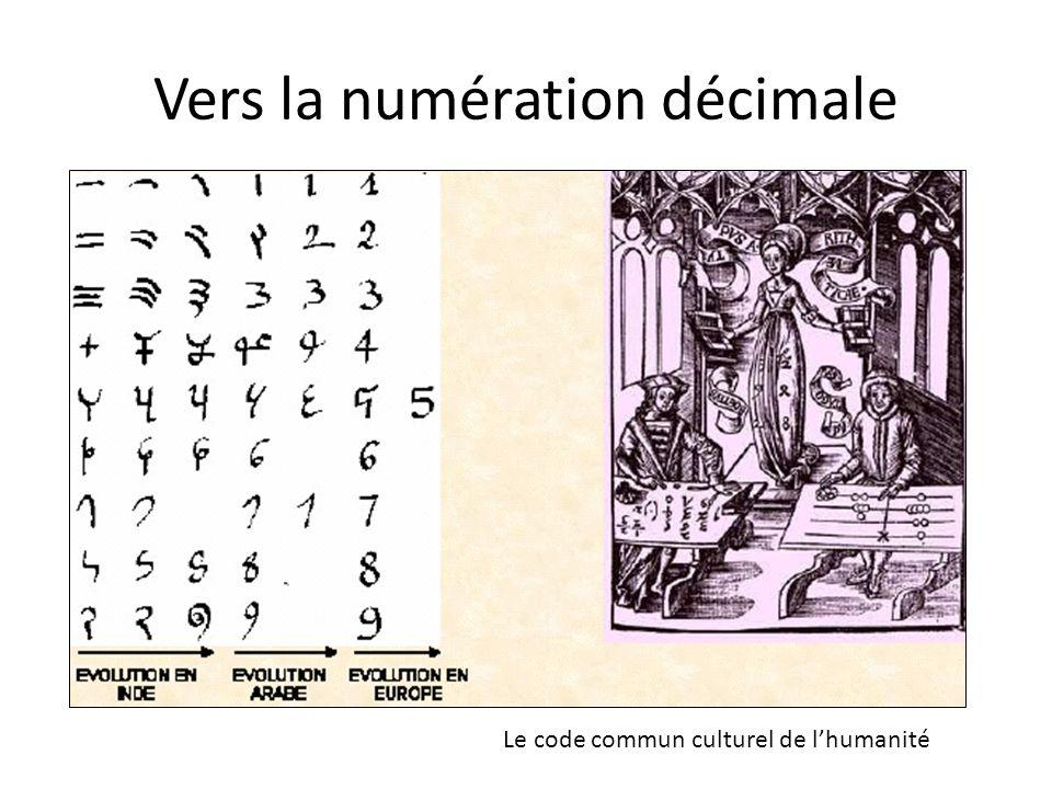 Vers la numération décimale Le code commun culturel de lhumanité