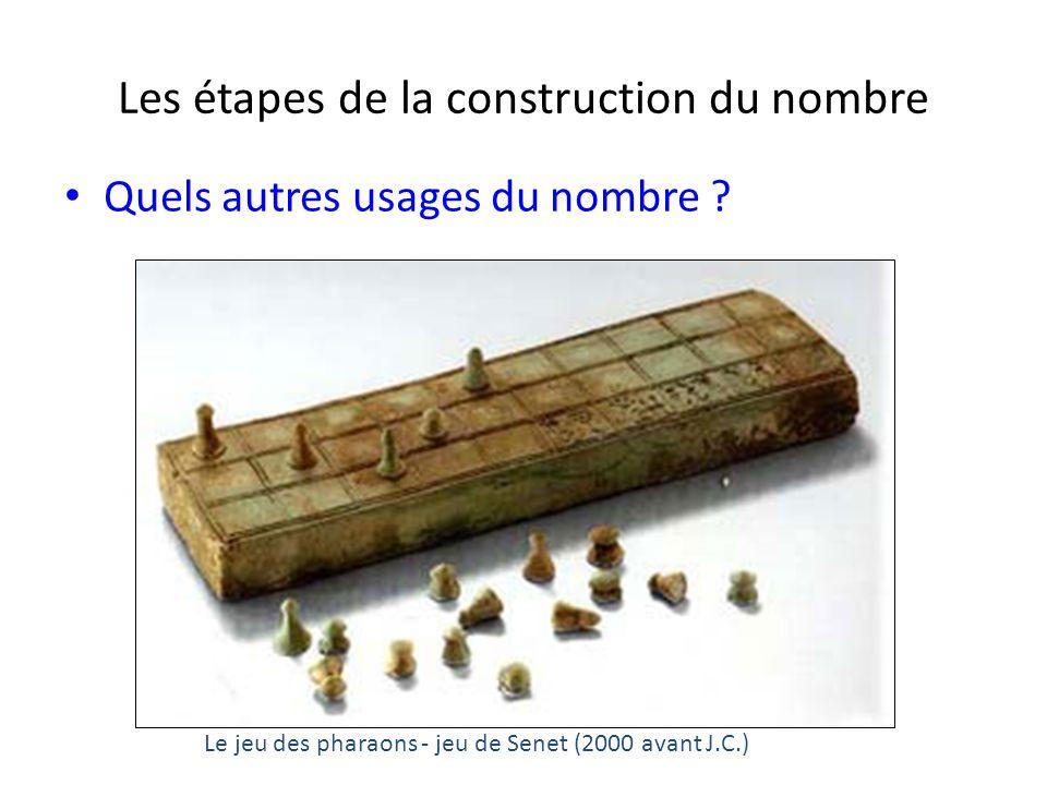 Les étapes de la construction du nombre Quels autres usages du nombre ? Le jeu des pharaons - jeu de Senet (2000 avant J.C.)