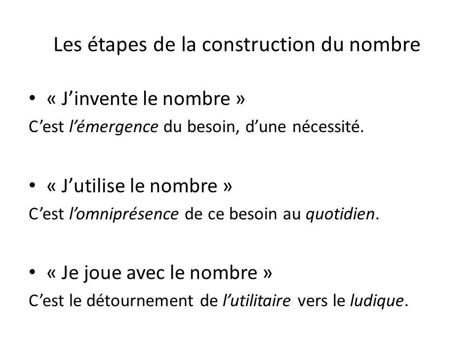 Les étapes de la construction du nombre « Jinvente le nombre » Cest lémergence du besoin, dune nécessité. « Jutilise le nombre » Cest lomniprésence de