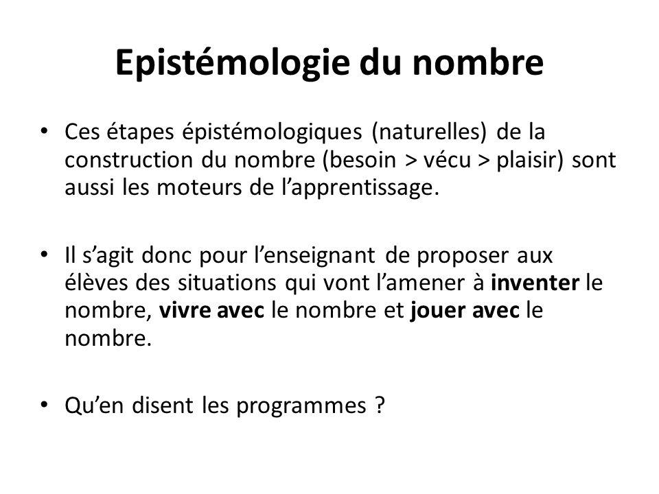 Ces étapes épistémologiques (naturelles) de la construction du nombre (besoin > vécu > plaisir) sont aussi les moteurs de lapprentissage. Il sagit don