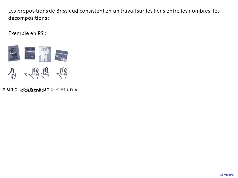 Exemple en PS : « un » « et un » « quatre » Les propositions de Brissiaud consistent en un travail sur les liens entre les nombres, les décompositions
