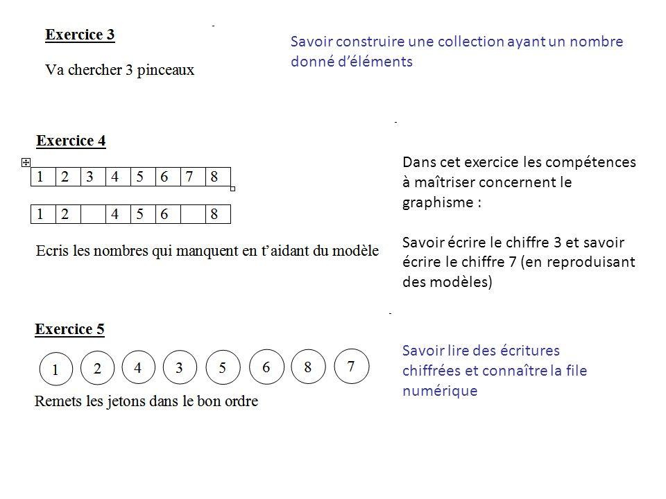 Savoir construire une collection ayant un nombre donné déléments Dans cet exercice les compétences à maîtriser concernent le graphisme : Savoir écrire