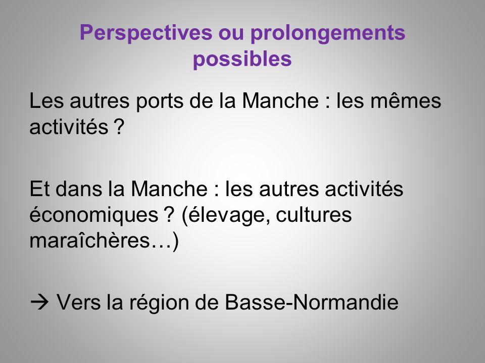 Perspectives ou prolongements possibles Les autres ports de la Manche : les mêmes activités ? Et dans la Manche : les autres activités économiques ? (