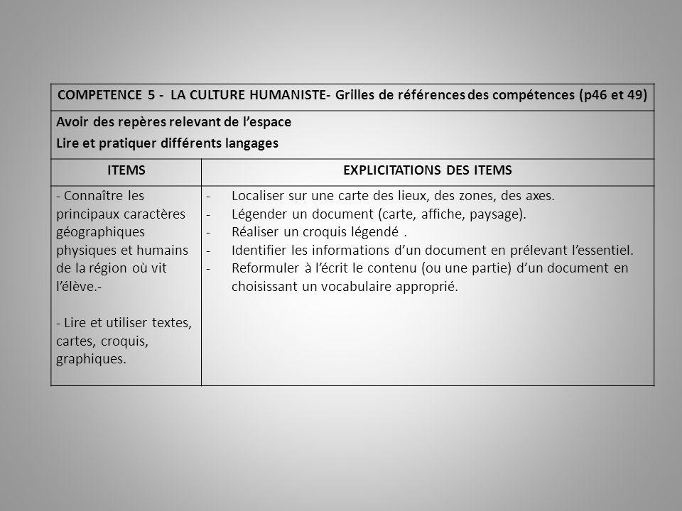 COMPETENCE 5 - LA CULTURE HUMANISTE- Grilles de références des compétences (p46 et 49) Avoir des repères relevant de lespace Lire et pratiquer différe