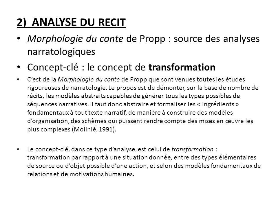 Morphologie du conte de Propp : source des analyses narratologiques Concept-clé : le concept de transformation Cest de la Morphologie du conte de Prop