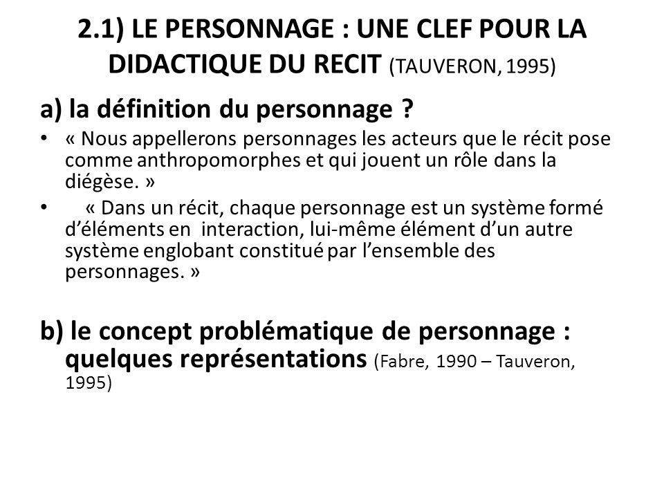 2.1) LE PERSONNAGE : UNE CLEF POUR LA DIDACTIQUE DU RECIT (TAUVERON, 1995) a) la définition du personnage ? « Nous appellerons personnages les acteurs