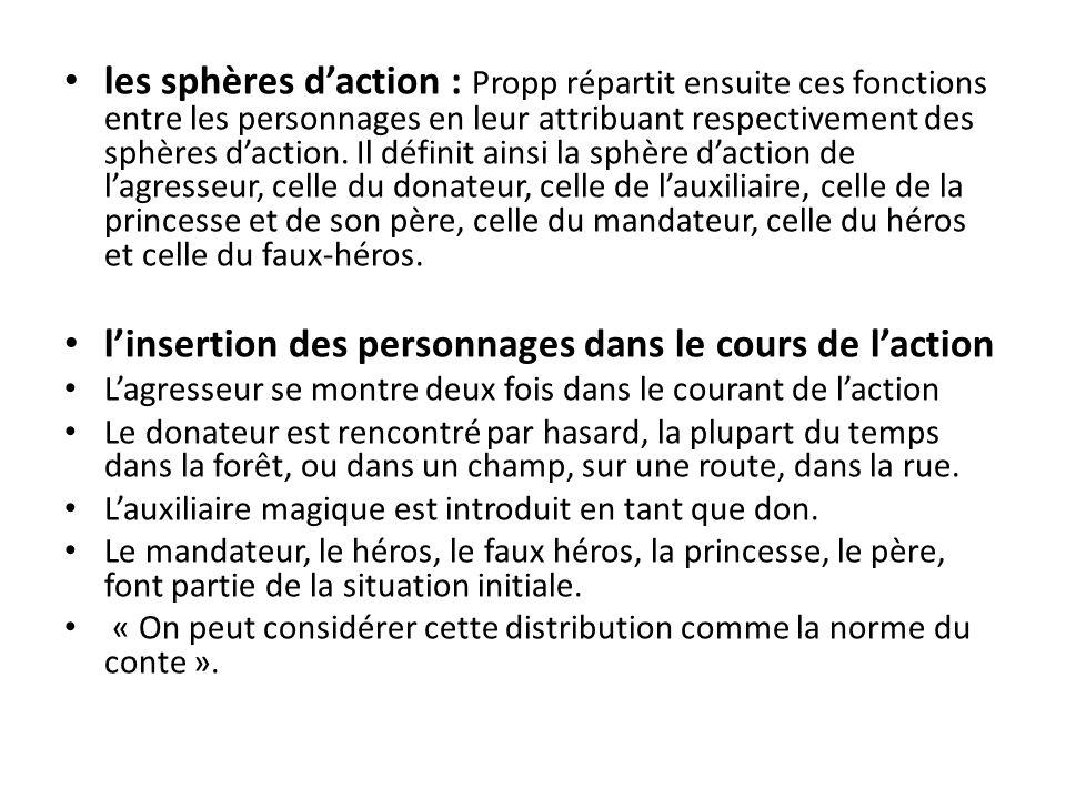 les sphères daction : Propp répartit ensuite ces fonctions entre les personnages en leur attribuant respectivement des sphères daction. Il définit ain