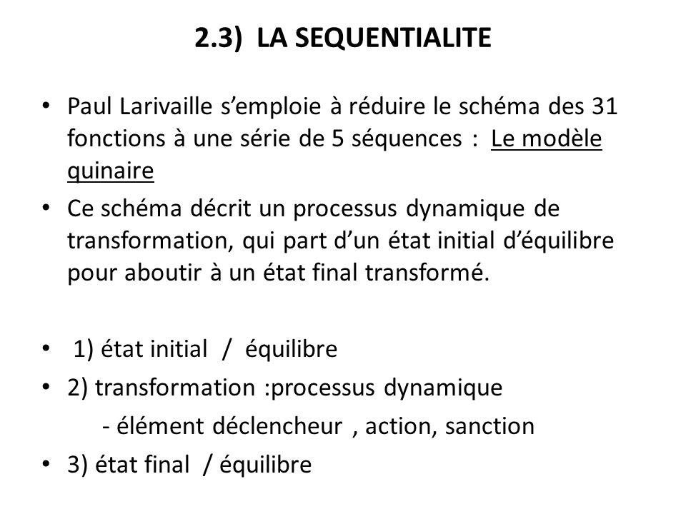 2.3) LA SEQUENTIALITE Paul Larivaille semploie à réduire le schéma des 31 fonctions à une série de 5 séquences : Le modèle quinaire Ce schéma décrit u