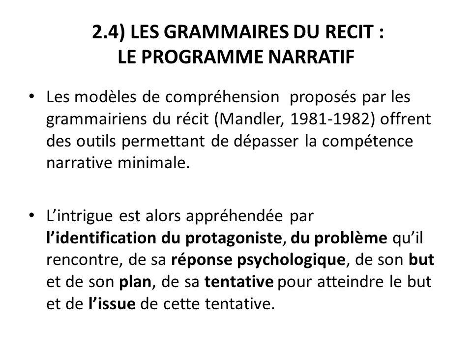 2.4) LES GRAMMAIRES DU RECIT : LE PROGRAMME NARRATIF Les modèles de compréhension proposés par les grammairiens du récit (Mandler, 1981-1982) offrent