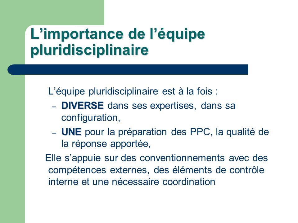 Limportance de léquipe pluridisciplinaire Léquipe pluridisciplinaire est à la fois : – DIVERSE – DIVERSE dans ses expertises, dans sa configuration, –