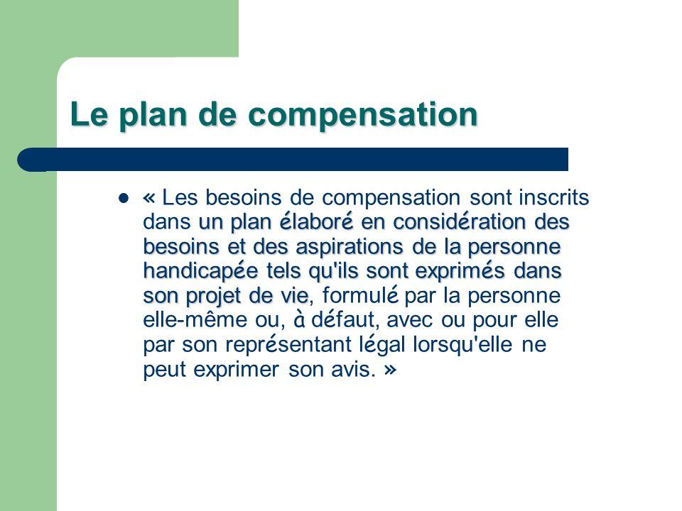 Le plan de compensation un plan é labor é en consid é ration des besoins et des aspirations de la personne handicap é e tels qu'ils sont exprim é s da