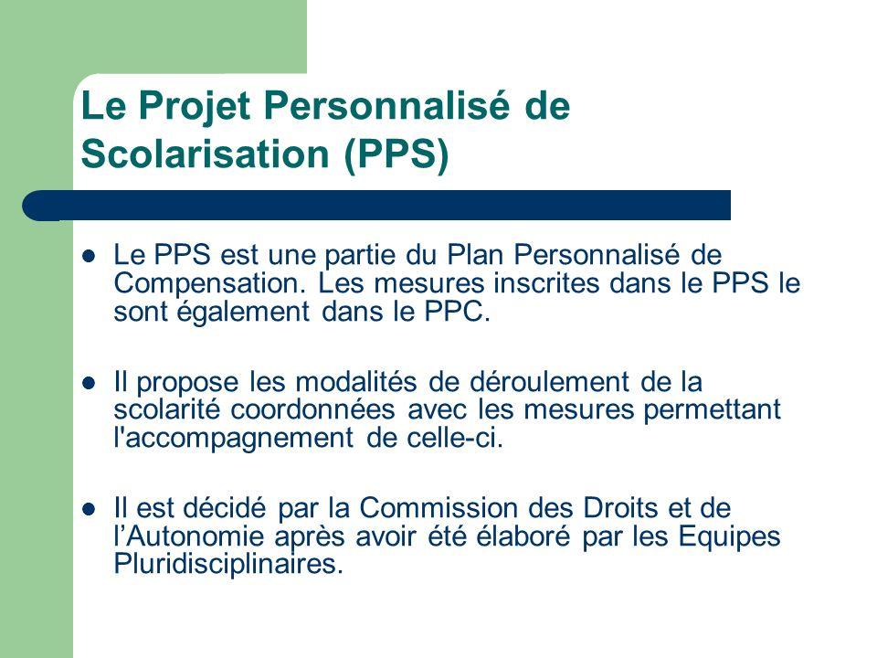 Le Projet Personnalisé de Scolarisation (PPS) Le PPS est une partie du Plan Personnalisé de Compensation. Les mesures inscrites dans le PPS le sont ég