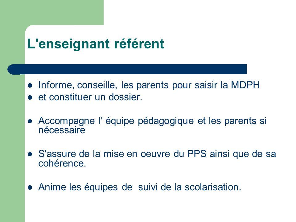 L'enseignant référent Informe, conseille, les parents pour saisir la MDPH et constituer un dossier. Accompagne l' équipe pédagogique et les parents si