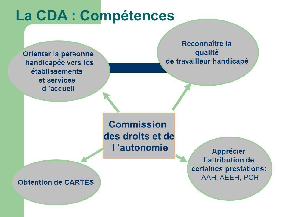 La CDA : Compétences Commission des droits et de l autonomie Orienter la personne handicapée vers les établissements et services d accueil Reconnaître