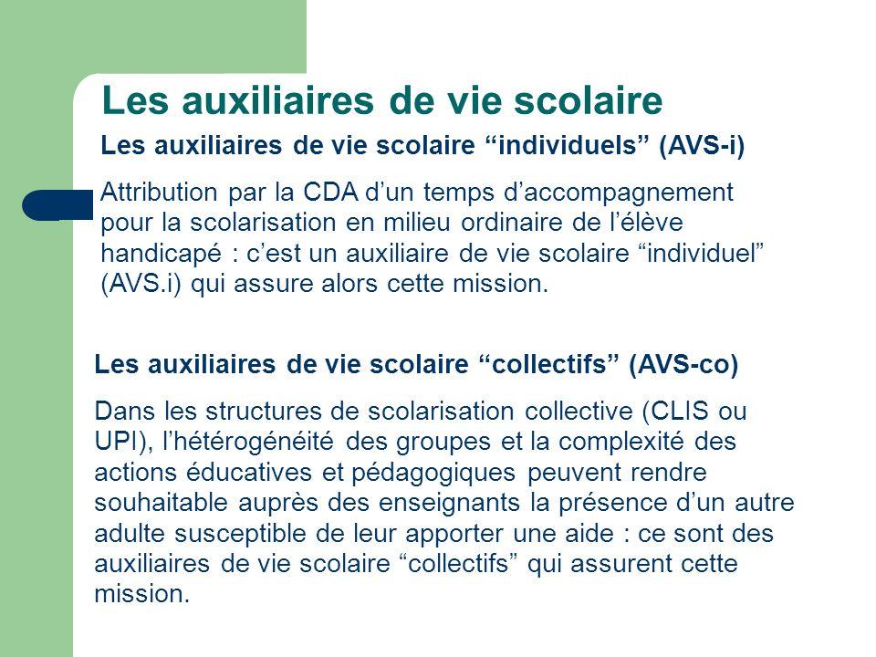 Les auxiliaires de vie scolaire Les auxiliaires de vie scolaire individuels (AVS-i) Attribution par la CDA dun temps daccompagnement pour la scolarisa