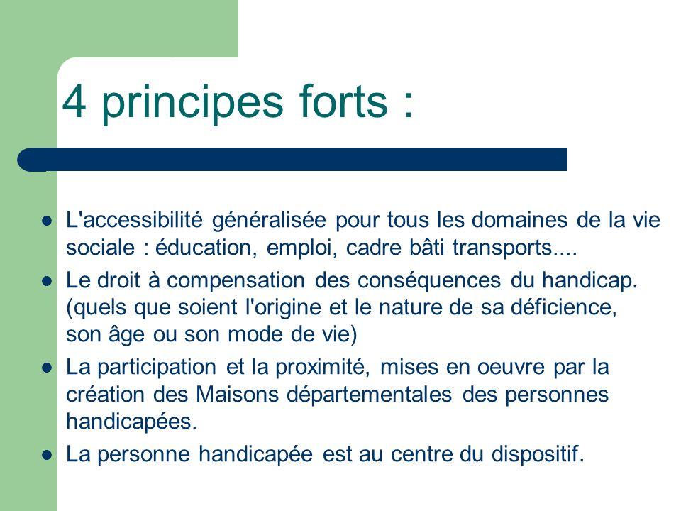 4 principes forts : L'accessibilité généralisée pour tous les domaines de la vie sociale : éducation, emploi, cadre bâti transports.... Le droit à com