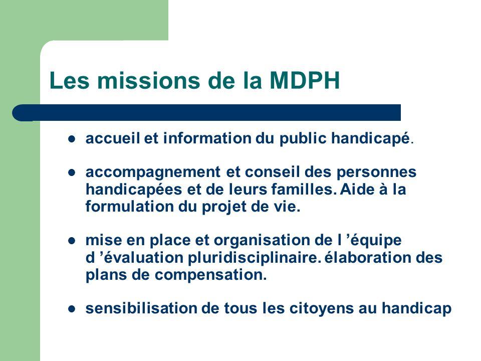 Les missions de la MDPH accueil et information du public handicapé. accompagnement et conseil des personnes handicapées et de leurs familles. Aide à l
