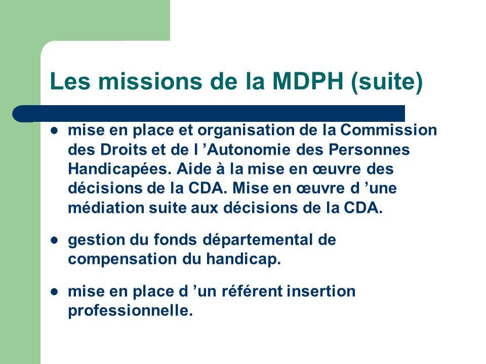 Les missions de la MDPH (suite) mise en place et organisation de la Commission des Droits et de l Autonomie des Personnes Handicapées. Aide à la mise