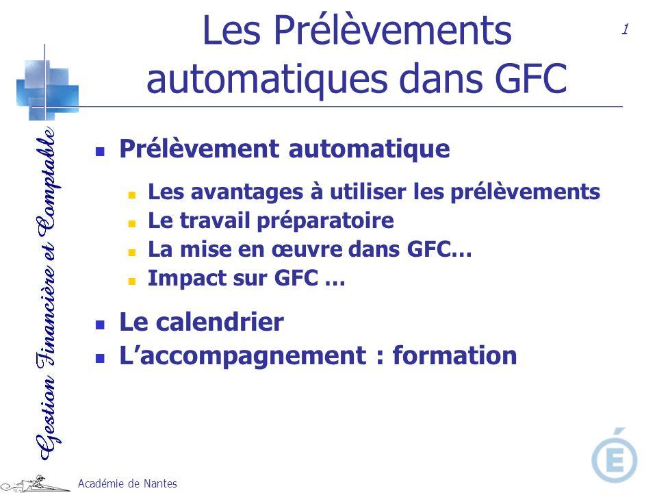 Académie de Nantes Les Prélèvements automatiques dans GFC Prélèvement automatique Les avantages à utiliser les prélèvements Le travail préparatoire La