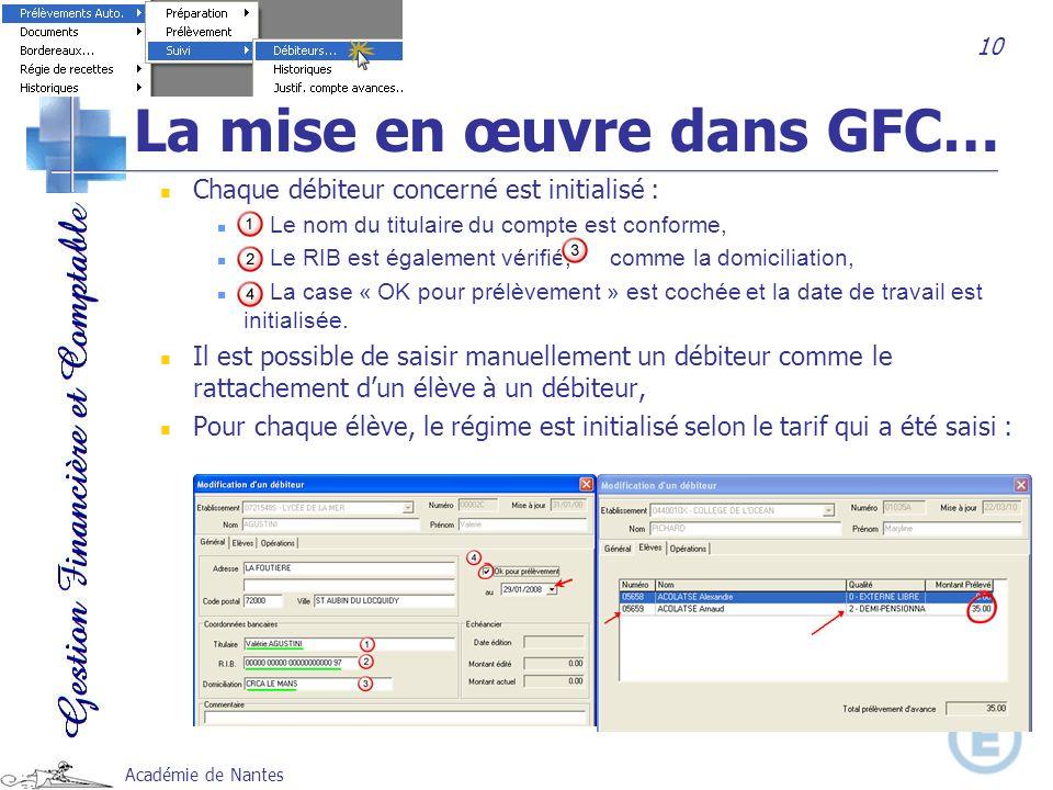Académie de Nantes Chaque débiteur concerné est initialisé : Le nom du titulaire du compte est conforme, Le RIB est également vérifié, comme la domici