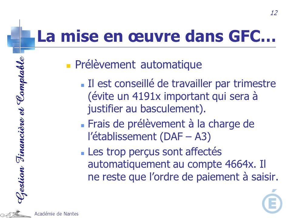 Académie de Nantes Prélèvement automatique Il est conseillé de travailler par trimestre (évite un 4191x important qui sera à justifier au basculement)