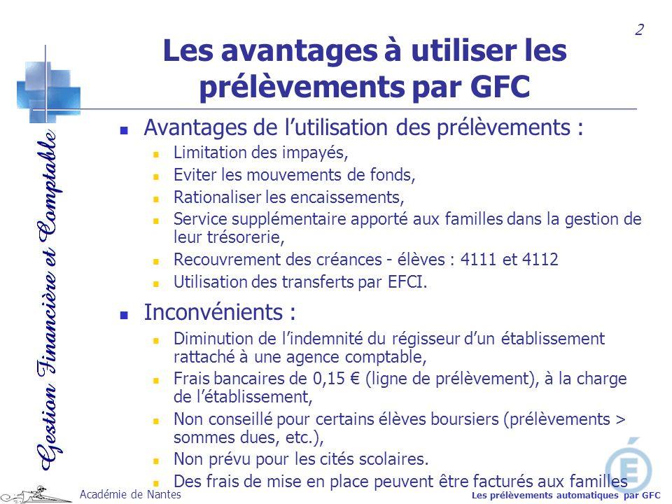 Académie de Nantes Les avantages à utiliser les prélèvements par GFC Avantages de lutilisation des prélèvements : Limitation des impayés, Eviter les m