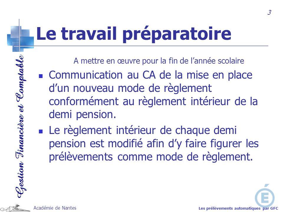 Académie de Nantes Le travail préparatoire A mettre en œuvre pour la fin de lannée scolaire Communication au CA de la mise en place dun nouveau mode d