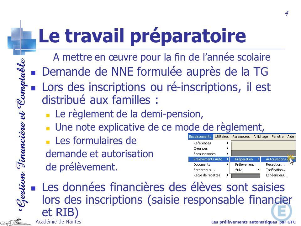 Académie de Nantes A mettre en œuvre pour la fin de lannée scolaire Demande de NNE formulée auprès de la TG Lors des inscriptions ou ré-inscriptions,