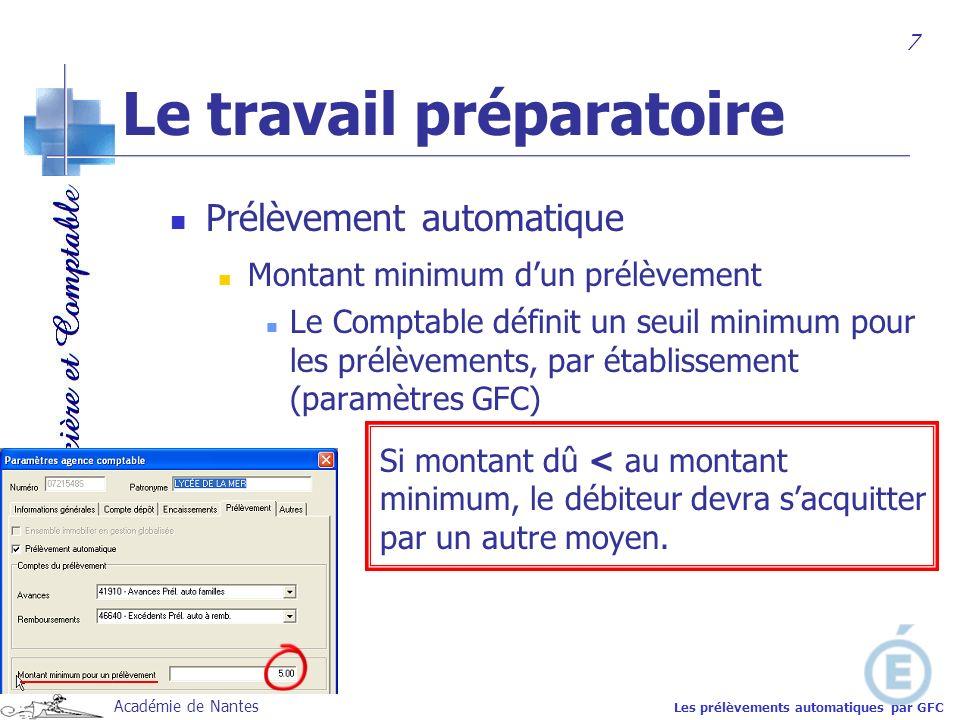 Académie de Nantes Prélèvement automatique Montant minimum dun prélèvement Le Comptable définit un seuil minimum pour les prélèvements, par établissem