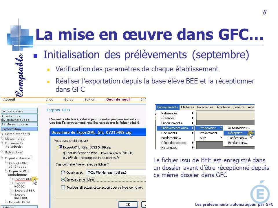Académie de Nantes Initialisation des prélèvements (septembre) Vérification des paramètres de chaque établissement Réaliser lexportation depuis la bas