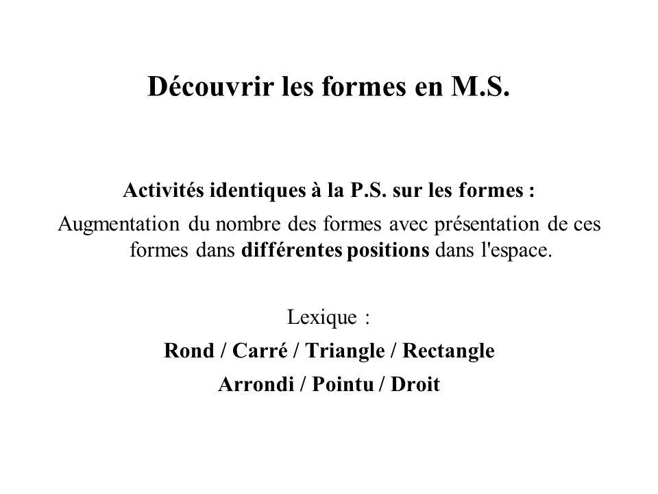 Découvrir les formes en M.S. Activités identiques à la P.S. sur les formes : Augmentation du nombre des formes avec présentation de ces formes dans di