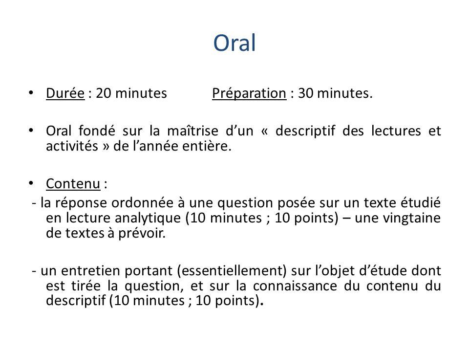 Oral Durée : 20 minutes Préparation : 30 minutes. Oral fondé sur la maîtrise dun « descriptif des lectures et activités » de lannée entière. Contenu :