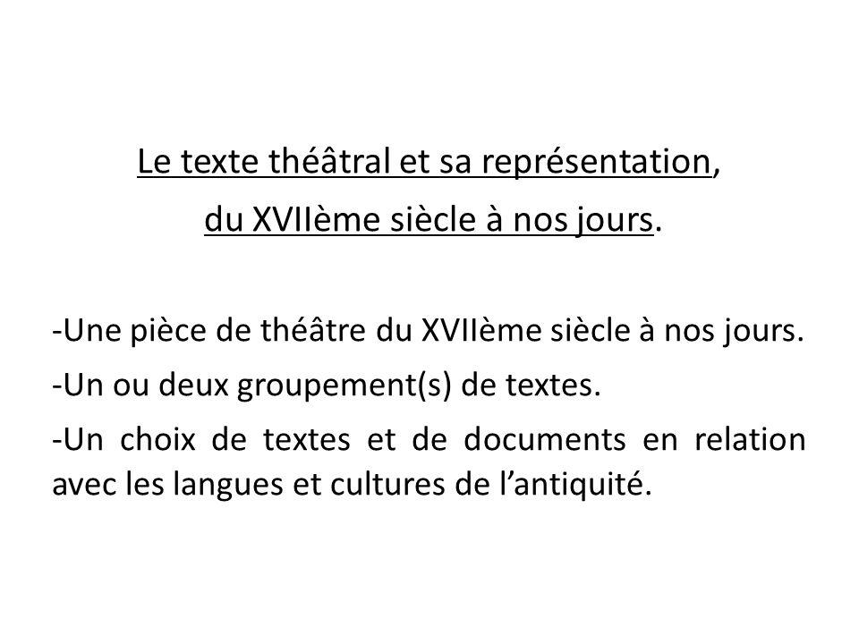 Le texte théâtral et sa représentation, du XVIIème siècle à nos jours. -Une pièce de théâtre du XVIIème siècle à nos jours. -Un ou deux groupement(s)