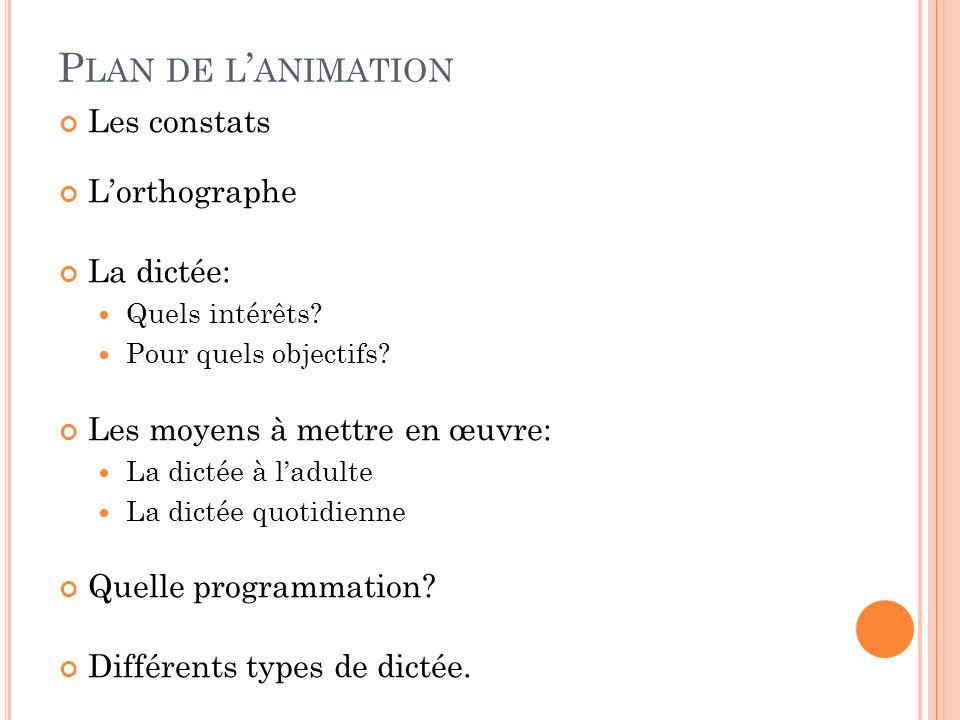 A PPRENTISSAGE DE L ORTHOGRAPHE Les erreurs de type lexical Une nouvelle proposition qui reprend et réactualise léchelle Dubois- Buysse.