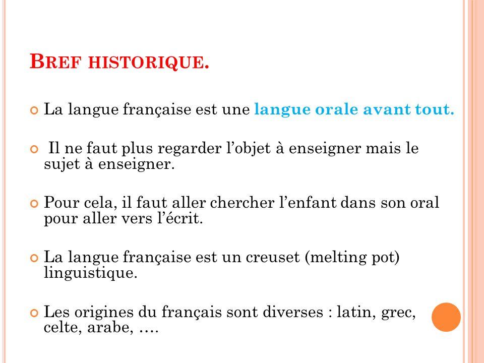 B REF HISTORIQUE. La langue française est une langue orale avant tout. Il ne faut plus regarder lobjet à enseigner mais le sujet à enseigner. Pour cel