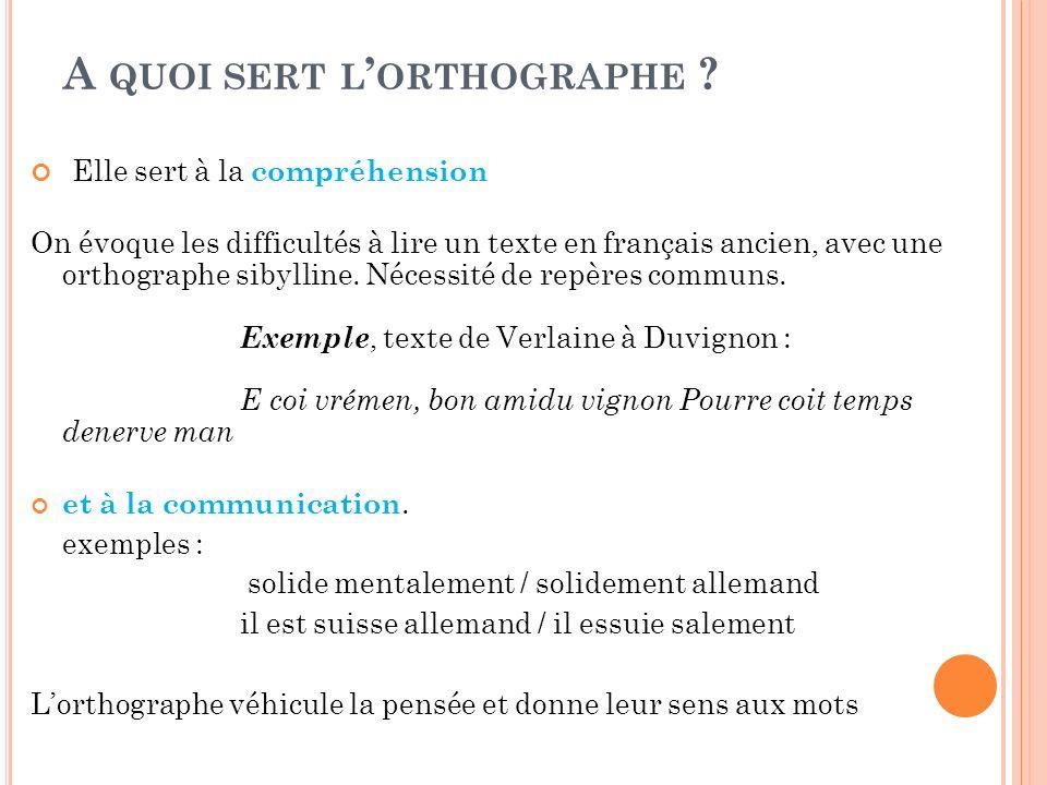 A QUOI SERT L ORTHOGRAPHE ? Elle sert à la compréhension On évoque les difficultés à lire un texte en français ancien, avec une orthographe sibylline.