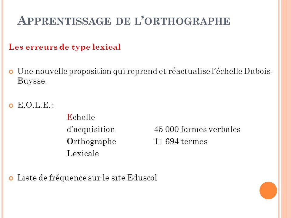 A PPRENTISSAGE DE L ORTHOGRAPHE Les erreurs de type lexical Une nouvelle proposition qui reprend et réactualise léchelle Dubois- Buysse. E.O.L.E. : Ec