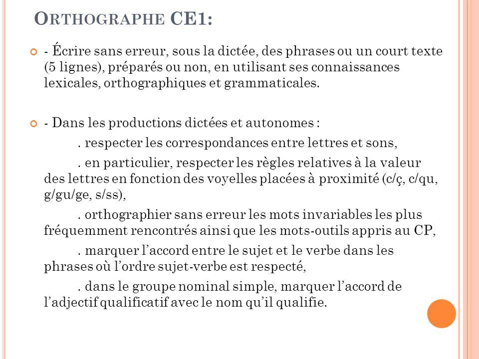 O RTHOGRAPHE CE1: - Écrire sans erreur, sous la dictée, des phrases ou un court texte (5 lignes), préparés ou non, en utilisant ses connaissances lexi