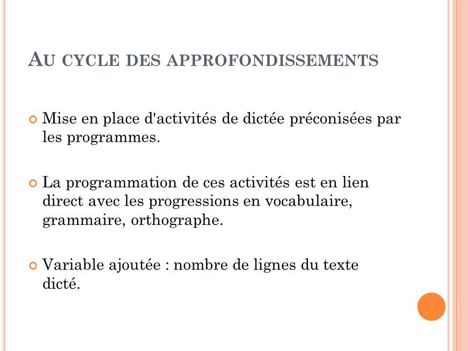 A U CYCLE DES APPROFONDISSEMENTS Mise en place d'activités de dictée préconisées par les programmes. La programmation de ces activités est en lien dir