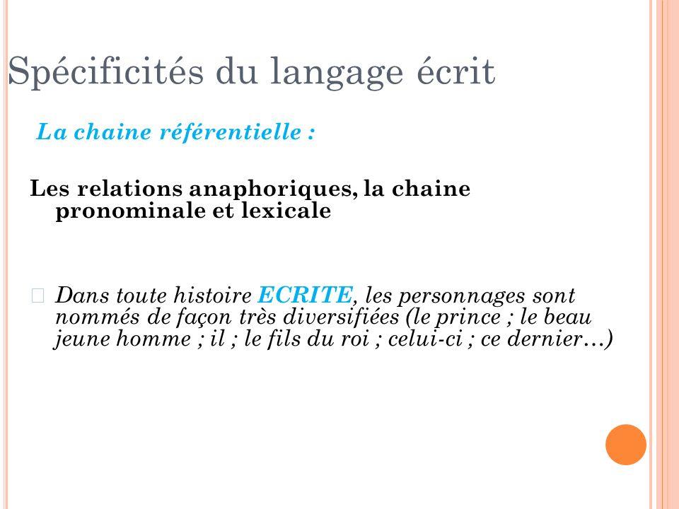 La chaine référentielle : Les relations anaphoriques, la chaine pronominale et lexicale z Dans toute histoire ECRITE, les personnages sont nommés de f