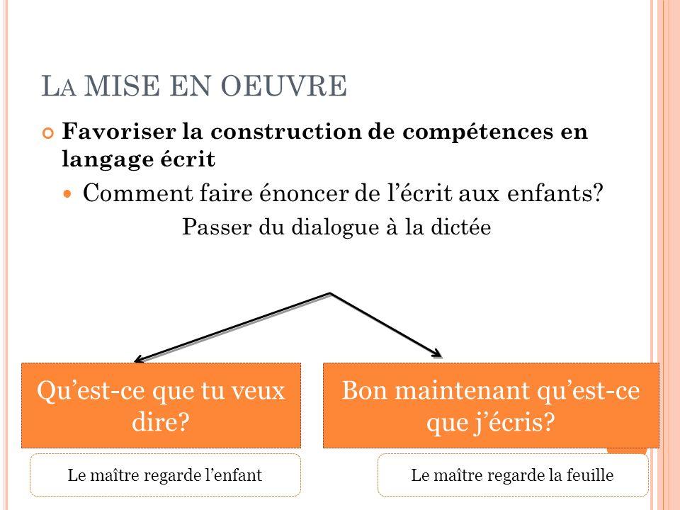 L A MISE EN OEUVRE Favoriser la construction de compétences en langage écrit Comment faire énoncer de lécrit aux enfants? Passer du dialogue à la dict
