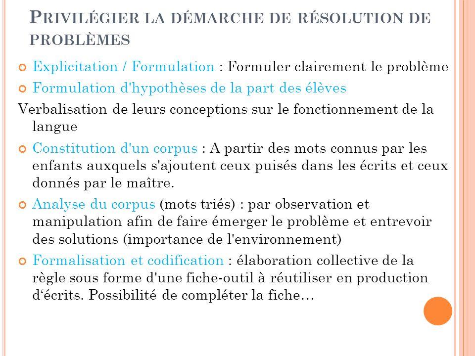 P RIVILÉGIER LA DÉMARCHE DE RÉSOLUTION DE PROBLÈMES Explicitation / Formulation : Formuler clairement le problème Formulation d'hypothèses de la part