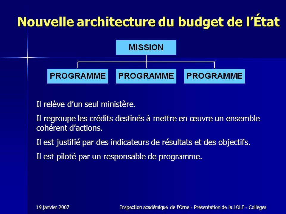 19 janvier 2007Inspection académique de l Orne - Présentation de la LOLF - Collèges Il relève dun seul ministère.