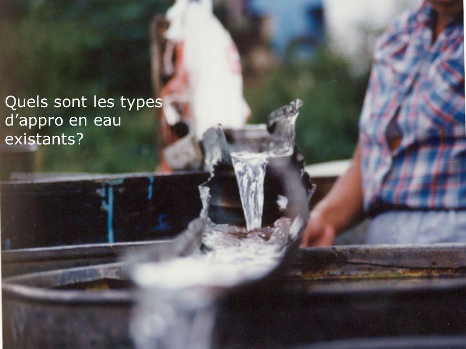 Quels sont les types dappro en eau existants?