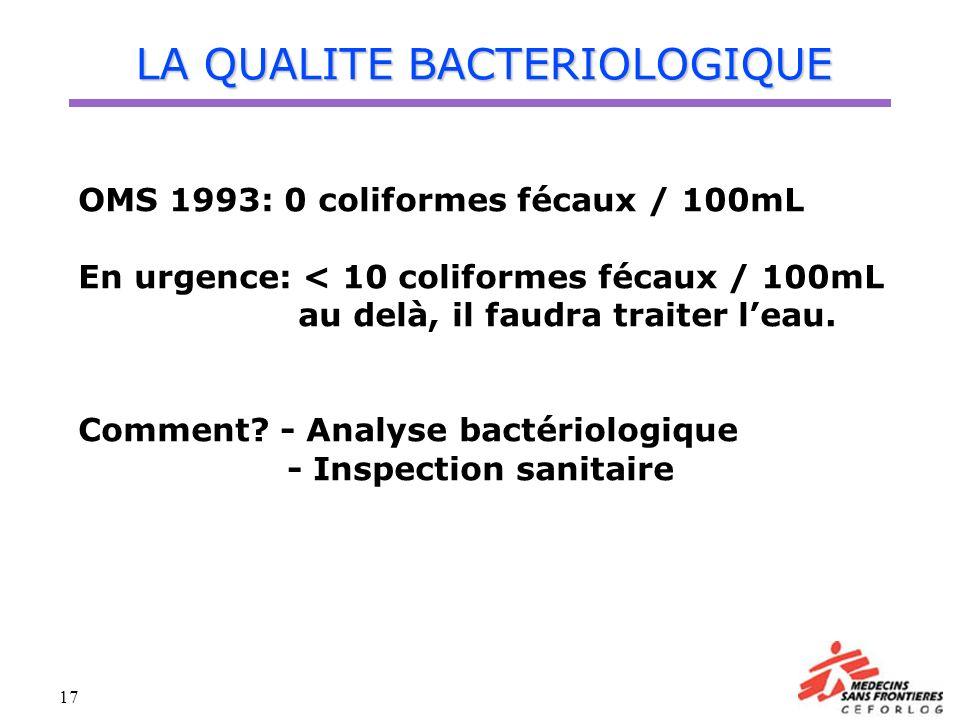 17 LA QUALITE BACTERIOLOGIQUE OMS 1993: 0 coliformes fécaux / 100mL En urgence: < 10 coliformes fécaux / 100mL au delà, il faudra traiter leau. Commen
