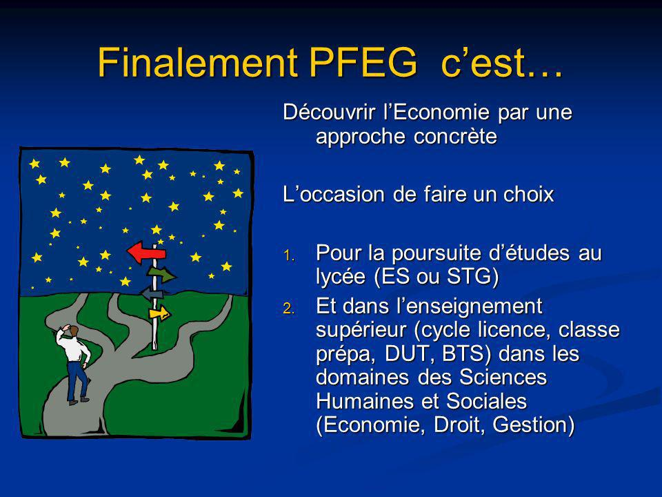 Finalement PFEG cest… Découvrir lEconomie par une approche concrète Loccasion de faire un choix 1. Pour la poursuite détudes au lycée (ES ou STG) 2. E